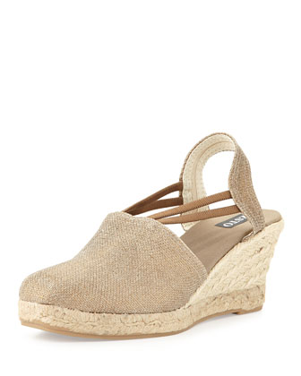 Cait Metallic Raffia Espadrille Wedge, Bronze