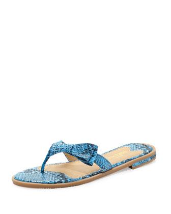 Ilene Snake-Print Sandal, Turquoise
