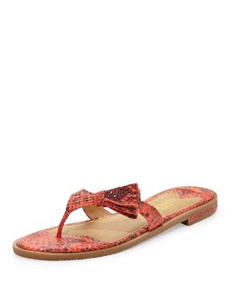 Ilene Snake-Print Sandal, Coral