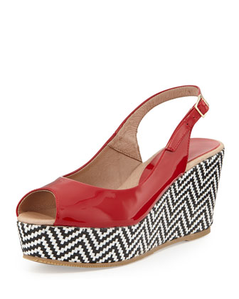 Jaime Patent Raffia Slingback Wedge, Red