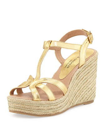 Jaime Metallic Raffia Gladiator Wedge, Gold