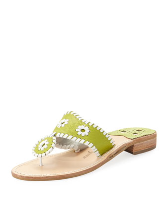 Leather Whipstitch Pinwheel Sandal, Lime/White