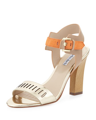 Justice Metallic Leather Chunky Sandal, Light Gold/Orange