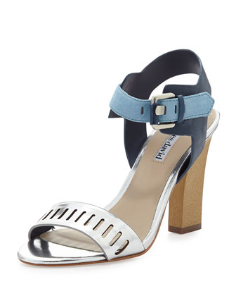 Justice Metallic Leather Chunky Pump, Silver/Blue
