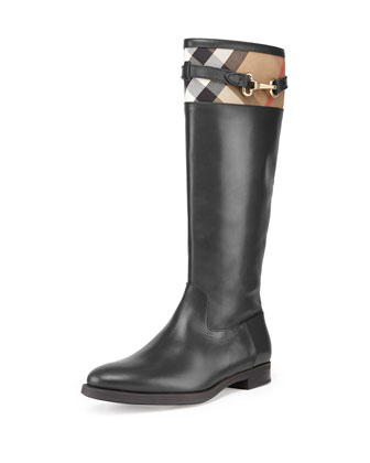 Check-Top Leather Knee Boot, Black