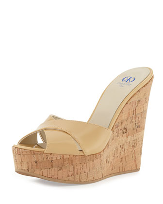 Frankie Criss-Cross Leather Cork Wedge, Nude