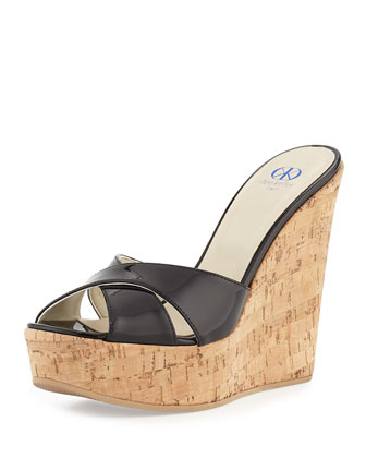 Frankie Criss-Cross Leather Cork Wedge, Black