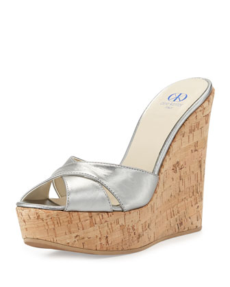 Frankie Criss-Cross Metallic Cork Wedge, Pewter