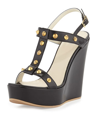 Erin Golden Studded Leather Pump, Black/Gold