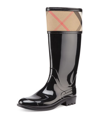 Check-Cuff Rubber Rain Boot, Black