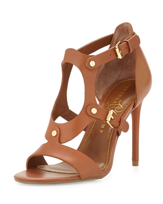Marid Studded Oval Strappy Sandal, Saddle