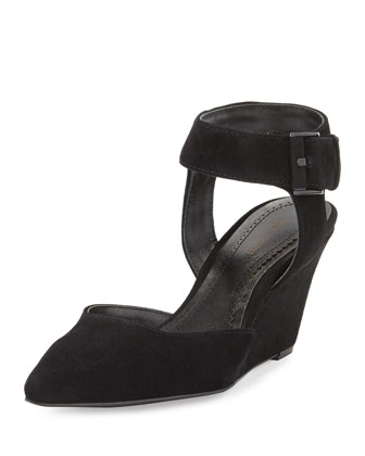 Minot Suede Ankle-Wrap Wedge, Black