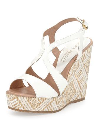 Johannah1 Patent Wedge Sandal, White