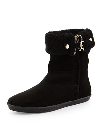 Shearling-Lined Suede Bootie, Black