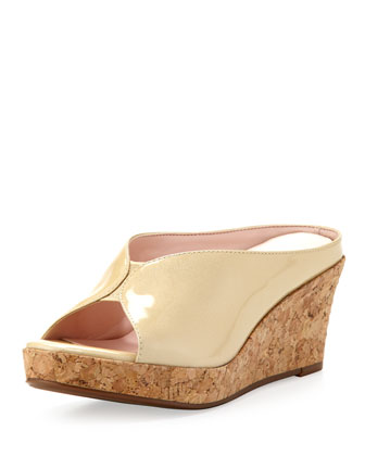 Stephanie Open-Toe Slip-On Wedge, Soft Gold