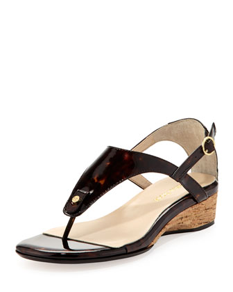 Kat Patent Leather Strappy Sandal, Tortoise