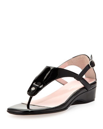 Kat Patent Leather Strappy Sandal, Black