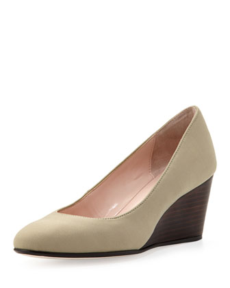 Kathleen Sateen Wedge, Beige