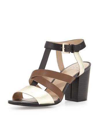 Annabelle Crisscross T-Strap Sandal, Black/Brown/Gold