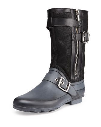 Shearling-Lined Rubber Weather Boot, Black