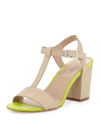 Alexandra Neon T-Strap Leather Sandal, Camel/Lime