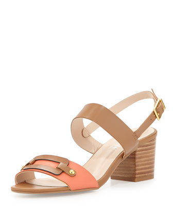 Seina Double-Strap City Sandal, Brown/Chestnut