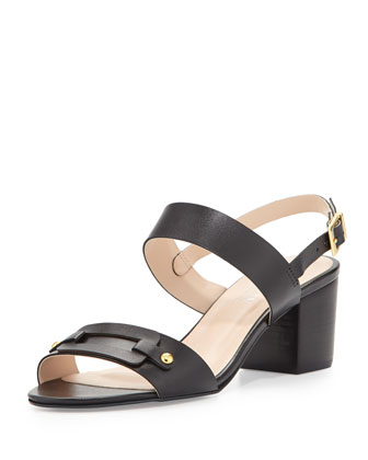 Seina Double-Strap City Sandal, Black