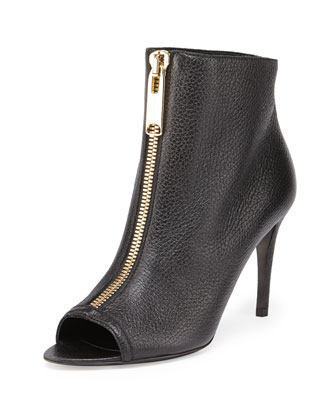 Zip-Front Peep-Toe Leather Bootie, Military Navy