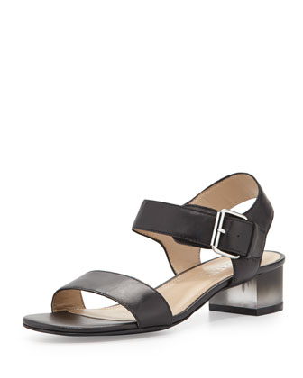 Rachel Clouded Heel City Sandal, Black