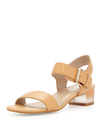 Rachel Clouded Heel City Sandal, Camel