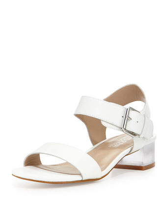 Rachel Clouded Heel City Sandal, White