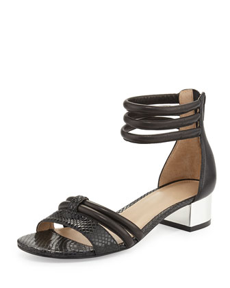 Tina Snake-Print Leather Strappy Sandal, Black