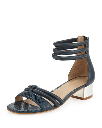 Tina Snake-Print Leather Strappy Sandal, Navy