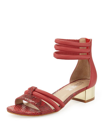 Tina Snake-Print Leather Strappy Sandal, Red