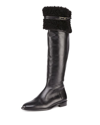 Cuffed Leather Over-the-Knee Boot, Black