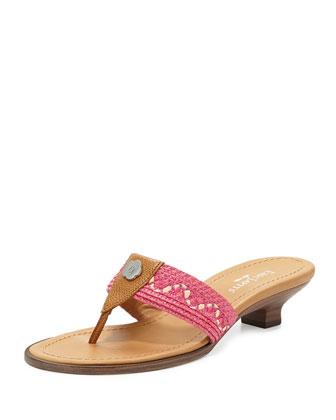 Kitten-Heel Logo Thong Sandal, Fuchsia