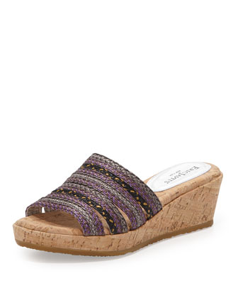 Squishee Cork Wedge Slide, Plum Multi