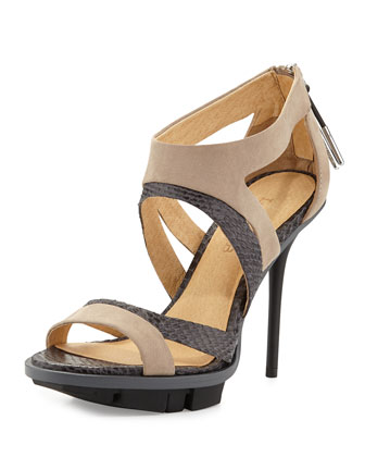Follie Mixed-Media Sandal, Light Gray/Tan
