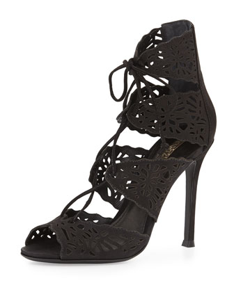 Ciara Nubuck Cutout-Panel Pump, Black