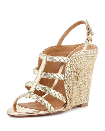 Beatrice Metallic Braided Wedge Sandal, Platina