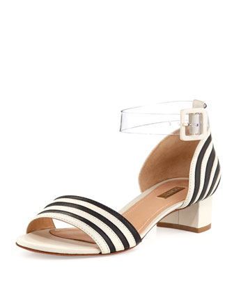 Fathia Striped Chunky Sandal, Pearl/Black