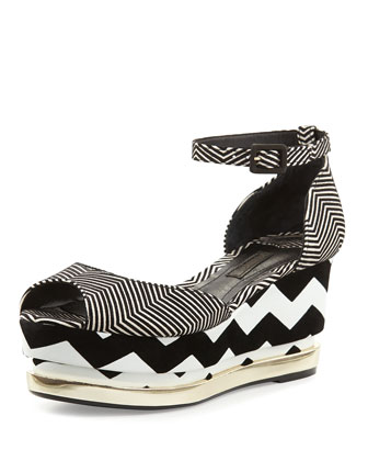 Doaa Zigzag Flatform Wedge, Black/White
