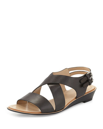Mackenzie Leather Strappy Sandal, Black