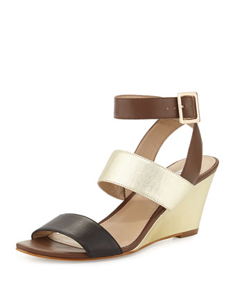 Stacy Metallic Leather Wedge Sandal, Black/Gold
