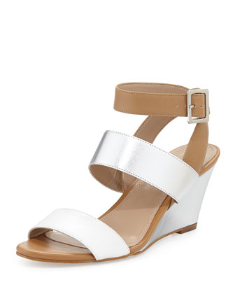Stacy Metallic Leather Wedge Sandal, White/Silver