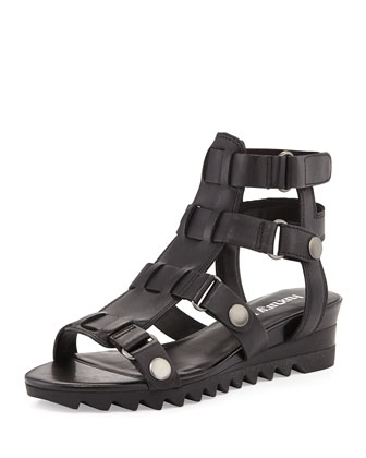 Edith Caged Strappy Leather Gladiator, Black