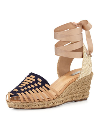 Isadora Ankle-Wrap Wedge, Navy