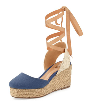 Caysey Jute/Canvas Espadrille Wedge, Navy