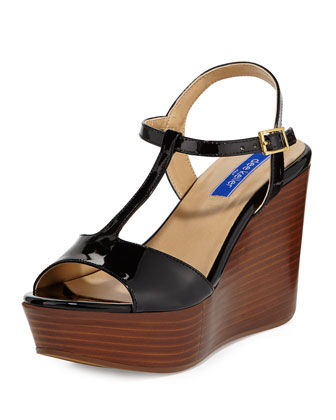 Stephanie Leather T-Strap Wedge Sandal, Black