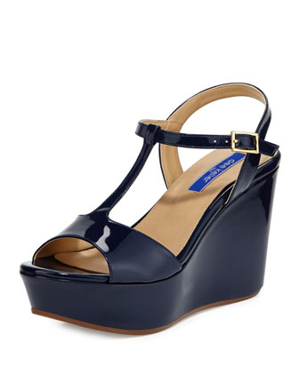 Stephanie Patent T-Strap Wedge Sandal, Navy
